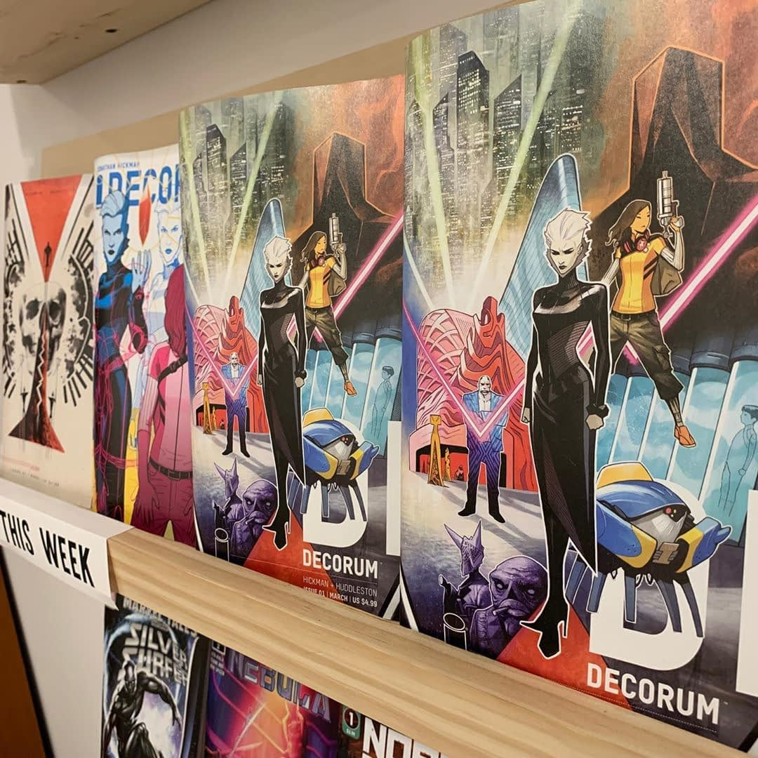 Decorum is Lee's pick of the week! If you liked House of X, you'll dig this book. Beautiful art from Mike Huddleston and expansive world building from Jonathan Hickman. It's massive and engaging. Get it today! @imagecomics