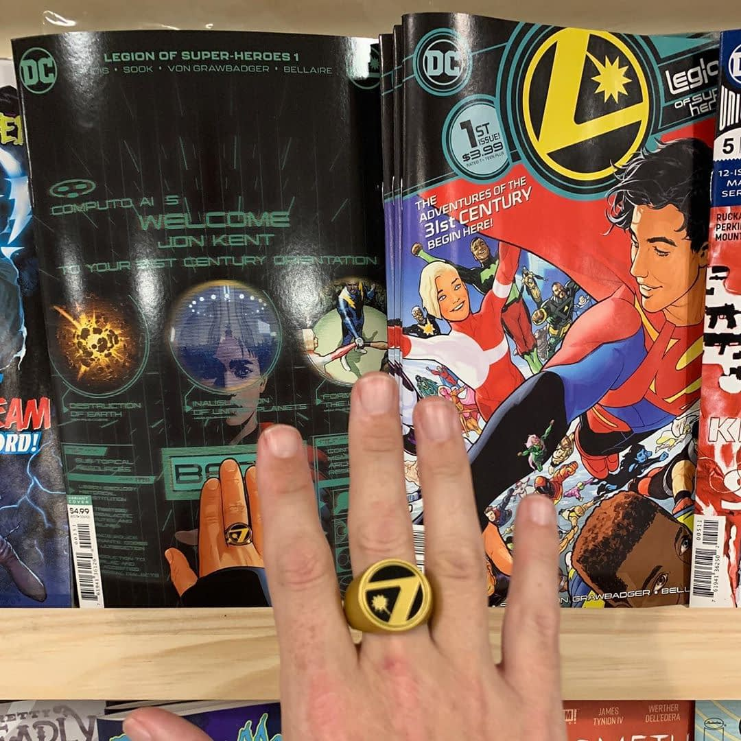 Buy a Legion of Super Heroes book (any vintage), get a Flight Ring. Wearing it facing yourself or an opponent is personal preference. The all new Legion starts now with Jonathan Kent!