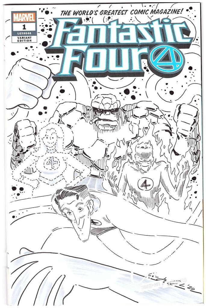Wook Jin Clark Fantastic Four Comic Book Sketch Covers