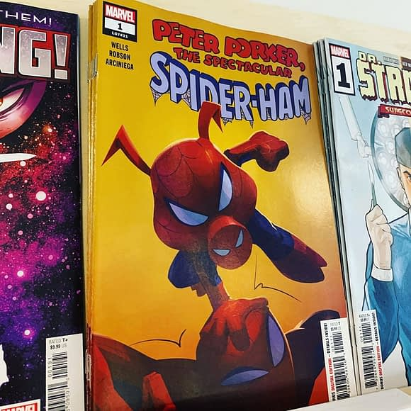 Peter Porker is back with his own comic! The savior of the Spider-verse just isn't feeling challenged fighting alongside the ScAvengers. Lucky for us, a portal to a new adventure has opened! Check out #1 in stock now.